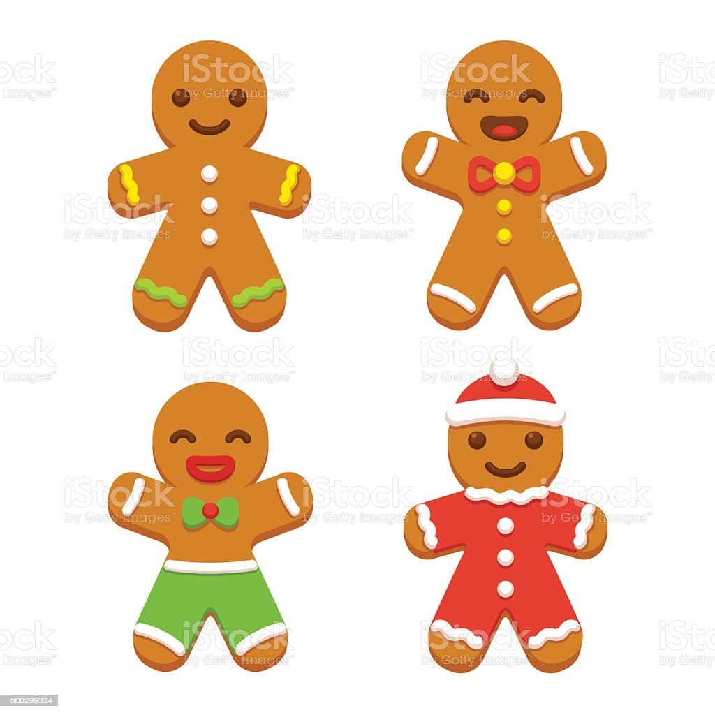Gingerbread man cookie set vector art illustration