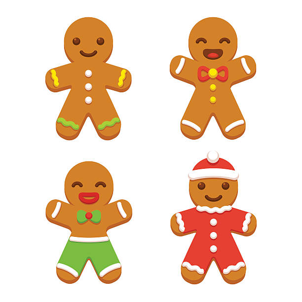 stockillustraties, clipart, cartoons en iconen met gingerbread man cookie set - speculaas