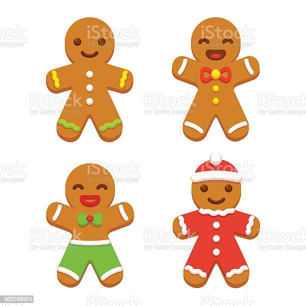 Gingerbread Man Cookie Set Stock Illustration - Download Image Now