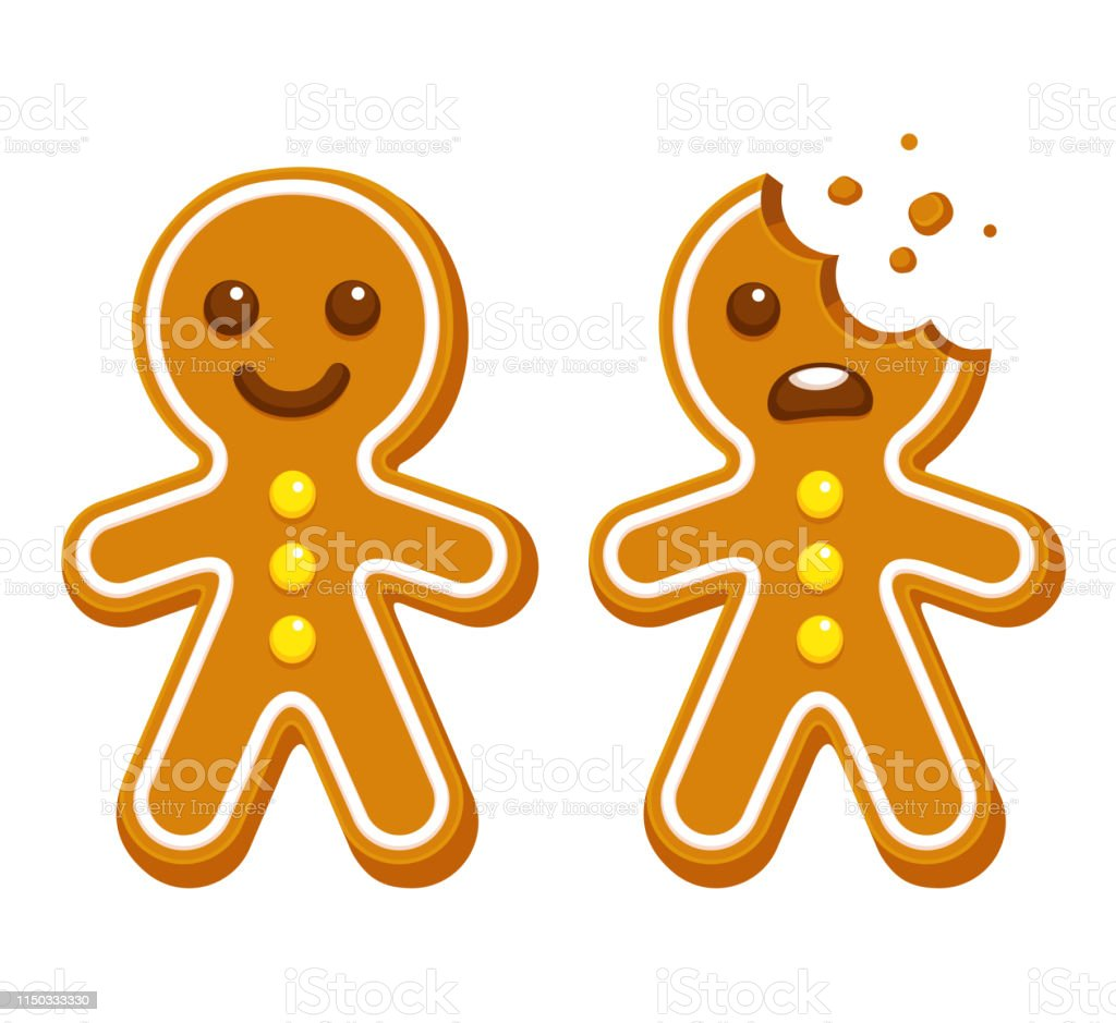 Gingerbread man cookie Cartoon gingerbread man whole and with head bite. Funny Christmas cookie vector illustration. Anthropomorphic Face stock vector