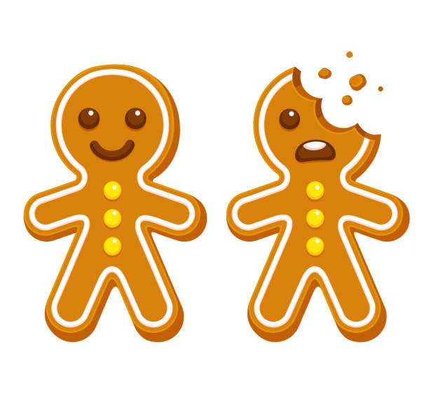 Gingerbread man cookie Cartoon gingerbread man whole and with head bite. Funny Christmas cookie vector illustration. bread clipart stock illustrations