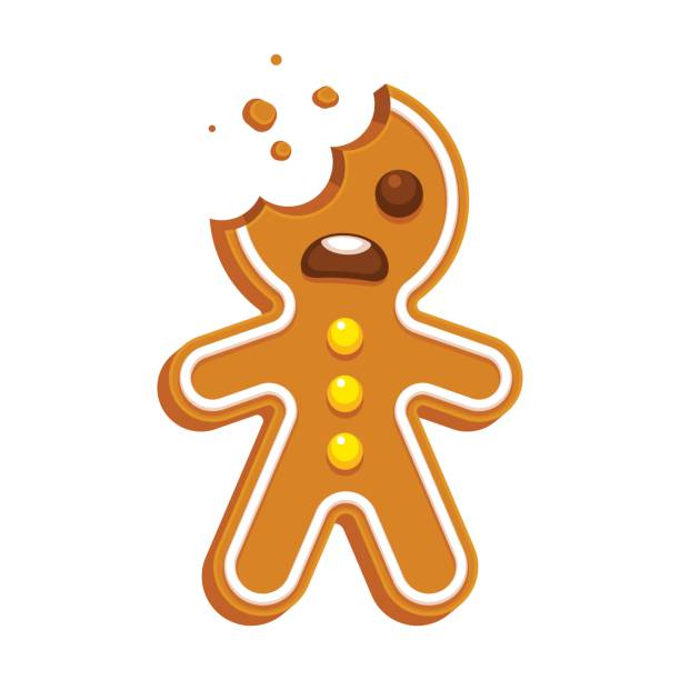Gingerbread man cookie Cartoon gingerbread man with bite missing. Funny Christmas cookie vector illustration. gingerbread man stock illustrations