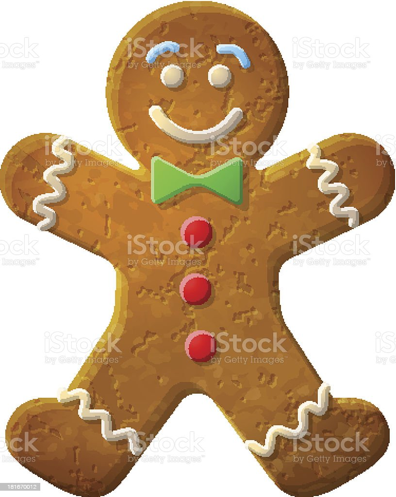 Gingerbread man decorated colored icing vector art illustration