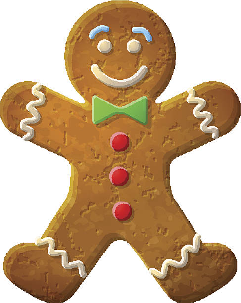 Gingerbread man decorated colored icing Holiday cookie in shape of man. Qualitative vector (EPS-10) illustration for new year's day, christmas, winter holiday, cooking, new year's eve, food, silvester, etc. It has transparent elements, masks, blending modes, gradients gingerbread man stock illustrations