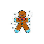 istock Gingerbread man flat color line icon on isolated background. Vector illustration of bisquit for seasonal holidays. Christmas character design - ginger bread cookie with smiley face. 875370384