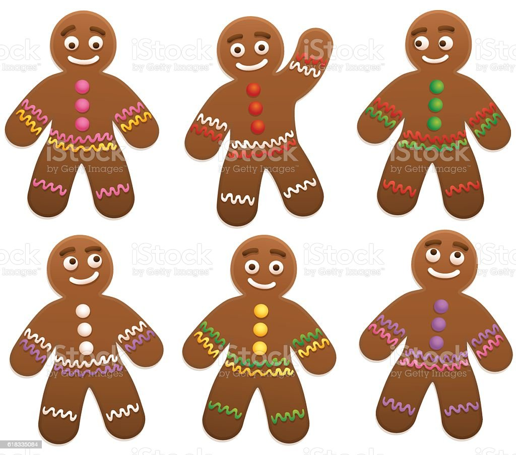 Gingerbread Man Group vector art illustration