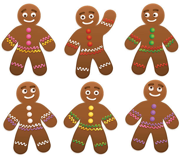 stockillustraties, clipart, cartoons en iconen met gingerbread man group - speculaas