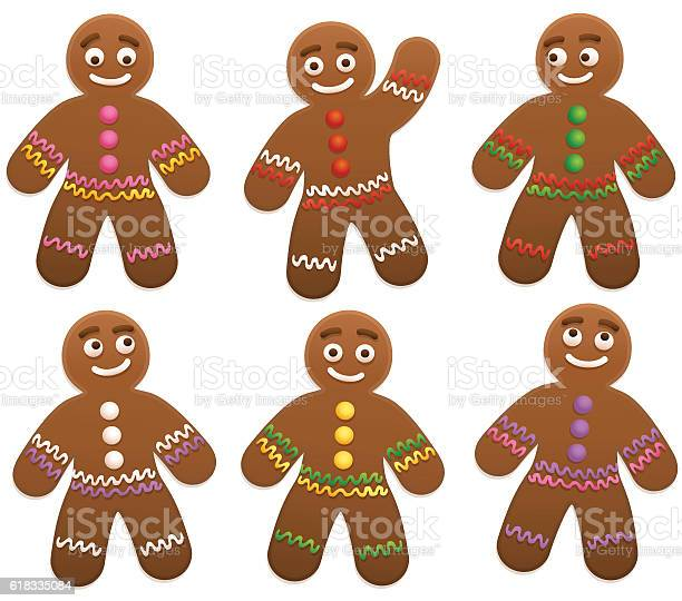Gingerbread Man Group Stock Illustration - Download Image Now