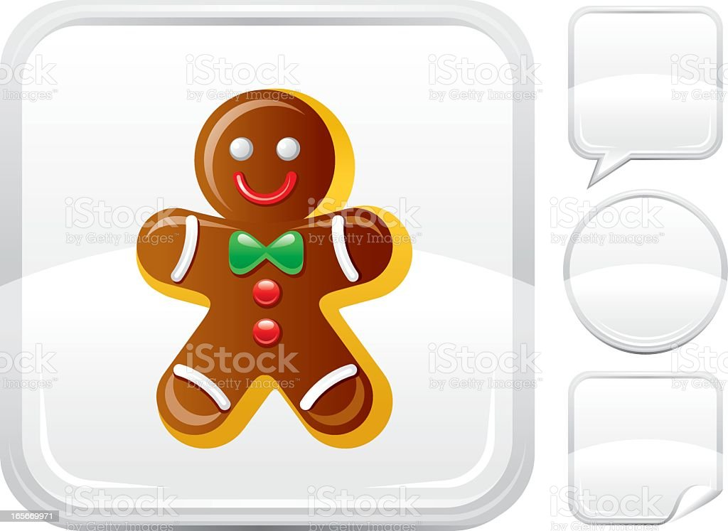 Gingerbread man icon on silver button vector art illustration