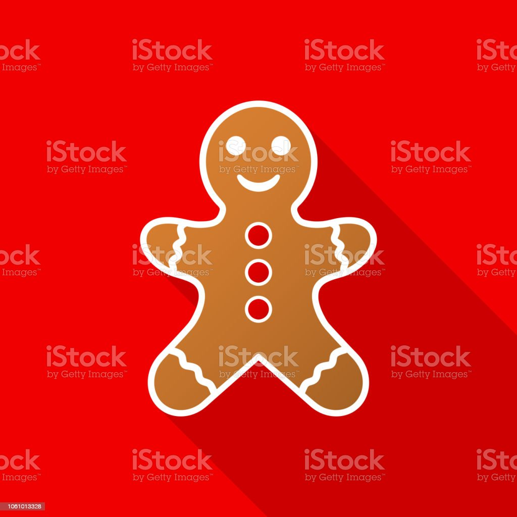 Gingerbread man icon with long shadow on red background. Vector Illustration. Gingerbread man icon with long shadow on red background. Vector Illustration EPS 10 Abstract stock vector