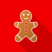 istock Gingerbread man icon with long shadow on red background. Vector Illustration. 1061013328