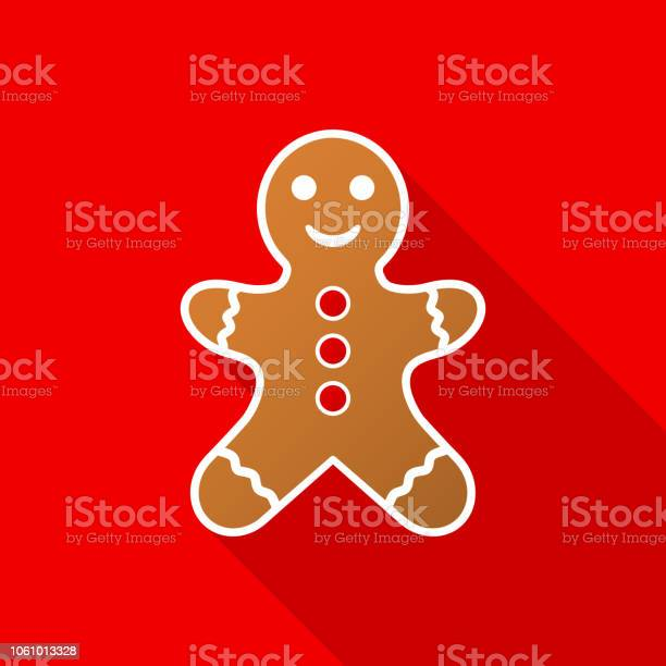 Gingerbread Man Icon With Long Shadow On Red Background Vector Illustration Stock Illustration - Download Image Now
