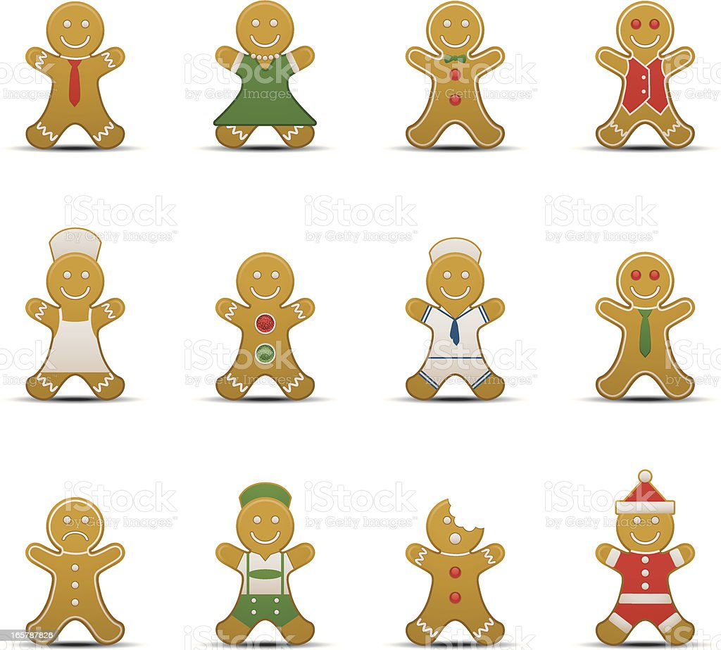 Gingerbread Man Icons vector art illustration