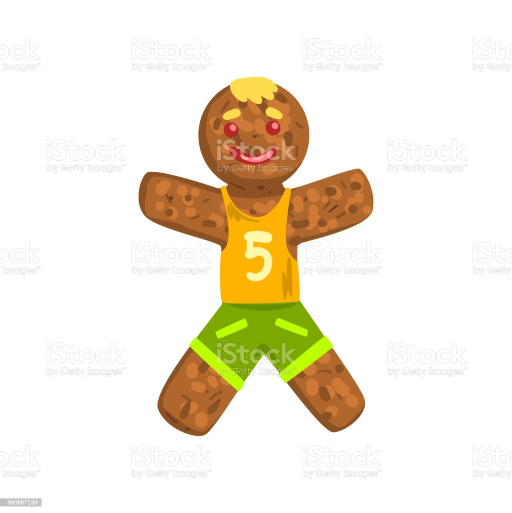 Gingerbread man in costume of soccer player Christmas character with funny face vector Illustration on  sc 1 st  iStock & Gingerbread Man In Costume Of Soccer Player Christmas Character With ...