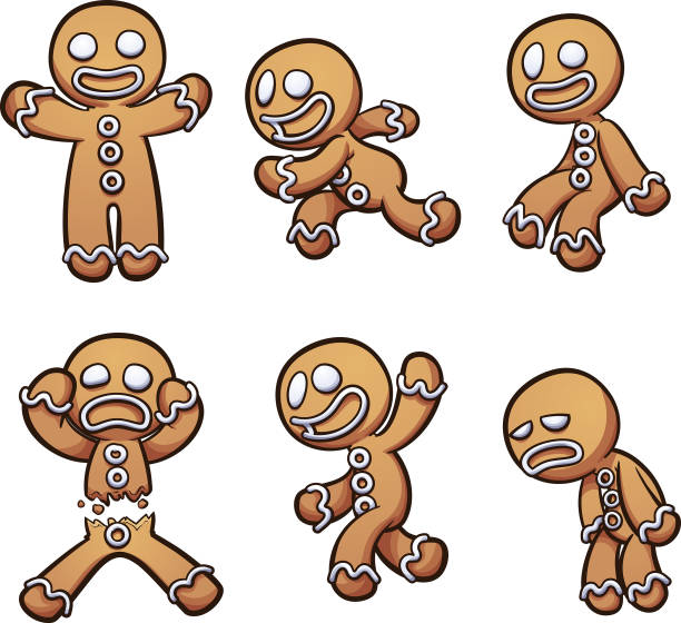 Gingerbread man in different poses Gingerbread man in different poses. Vector clip art illustration with simple gradients. Each on a separate layer. gingerbread man stock illustrations