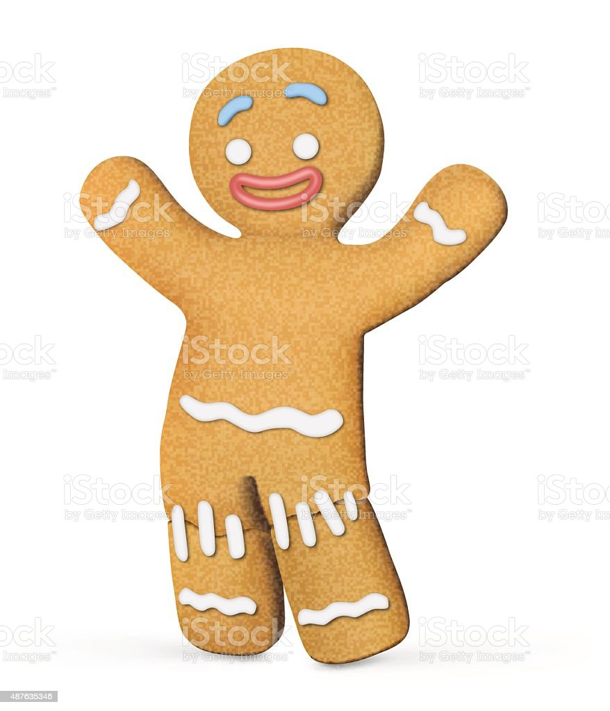 Gingerbread man isolated on white background. Vector illustration vector art illustration