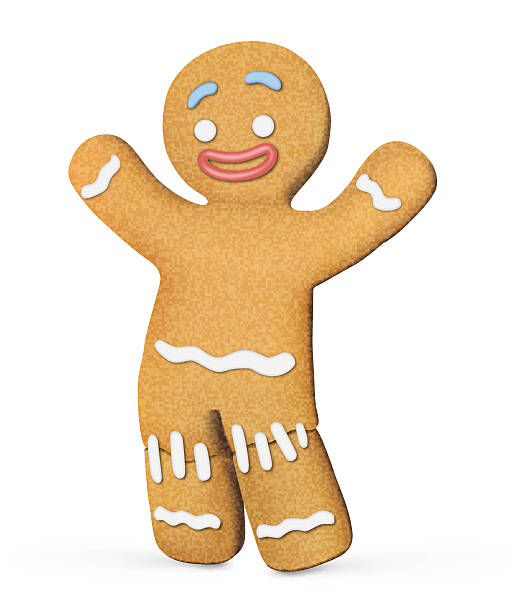 stockillustraties, clipart, cartoons en iconen met gingerbread man isolated on white background. vector illustration - speculaas