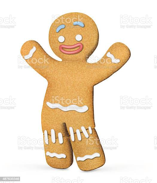 Gingerbread Man Isolated On White Background Vector Illustration Stock Illustration - Download Image Now