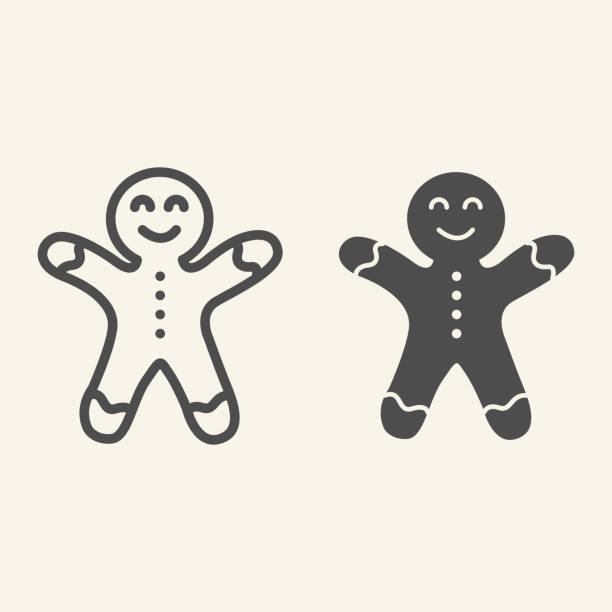 Gingerbread man line and solid icon. Biscuit Man outline style pictogram on white background. Christmas Cookie for mobile concept and web design. Vector graphics. Gingerbread man line and solid icon. Biscuit Man outline style pictogram on white background. Christmas Cookie for mobile concept and web design. Vector graphics decorating a cake stock illustrations