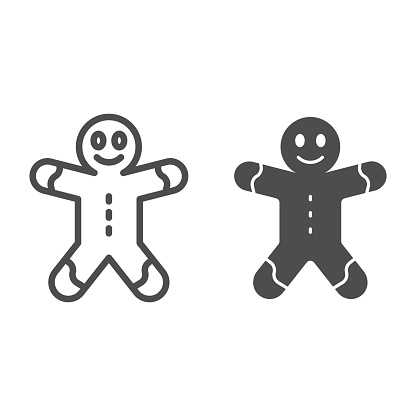 Gingerbread man line and solid icon, Christmas and New Year concept, holiday sweet sign on white background, ginger bread icon in outline style for mobile concept and web design. Vector graphics.