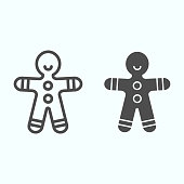 Gingerbread man line and solid icon. Shortcake cookie in shape of man. Christmas vector design concept, outline style pictogram on white background, use for web and app. Eps 10