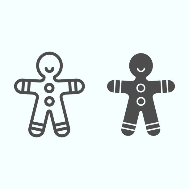 Gingerbread man line and solid icon. Shortcake cookie in shape of man. Christmas vector design concept, outline style pictogram on white background, use for web and app. Eps 10. Gingerbread man line and solid icon. Shortcake cookie in shape of man. Christmas vector design concept, outline style pictogram on white background, use for web and app. Eps 10 decorating a cake stock illustrations