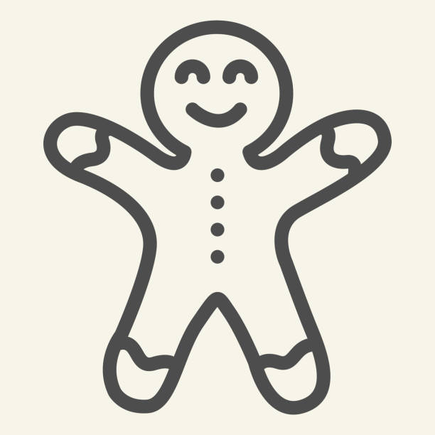Gingerbread man line icon. Biscuit Man outline style pictogram on white background. Christmas Cookie for mobile concept and web design. Vector graphics. Gingerbread man line icon. Biscuit Man outline style pictogram on white background. Christmas Cookie for mobile concept and web design. Vector graphics decorating a cake stock illustrations