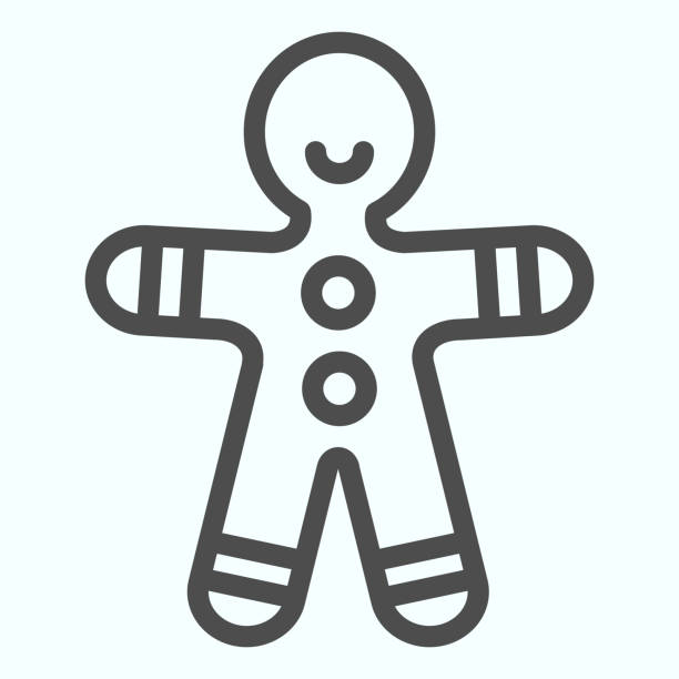 Gingerbread man line icon. Shortcake cookie in shape of man. Christmas vector design concept, outline style pictogram on white background, use for web and app. Eps 10. Gingerbread man line icon. Shortcake cookie in shape of man. Christmas vector design concept, outline style pictogram on white background, use for web and app. Eps 10 decorating a cake stock illustrations
