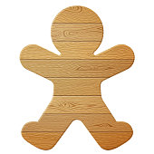 Wooden planks in shape of christmas cookie. Vector image for christmas, new years day, woodworking, winter holiday, decoration, silvester, etc
