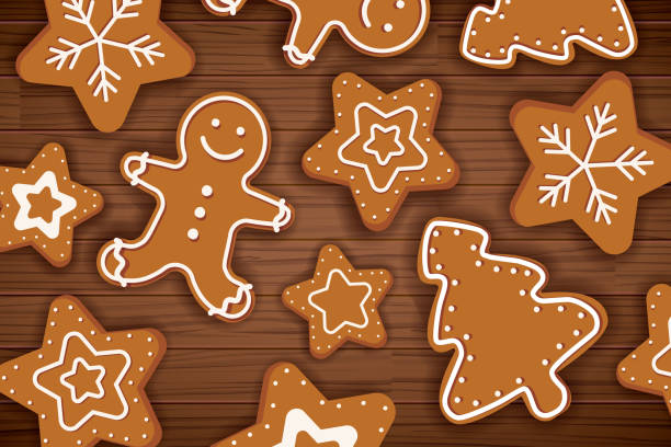 Gingerbread man on wooden table background. Merry christmas holiday card with homemade cookies. Gingerbread man on wooden table background. Merry christmas holiday card with homemade cookies. cartable stock illustrations