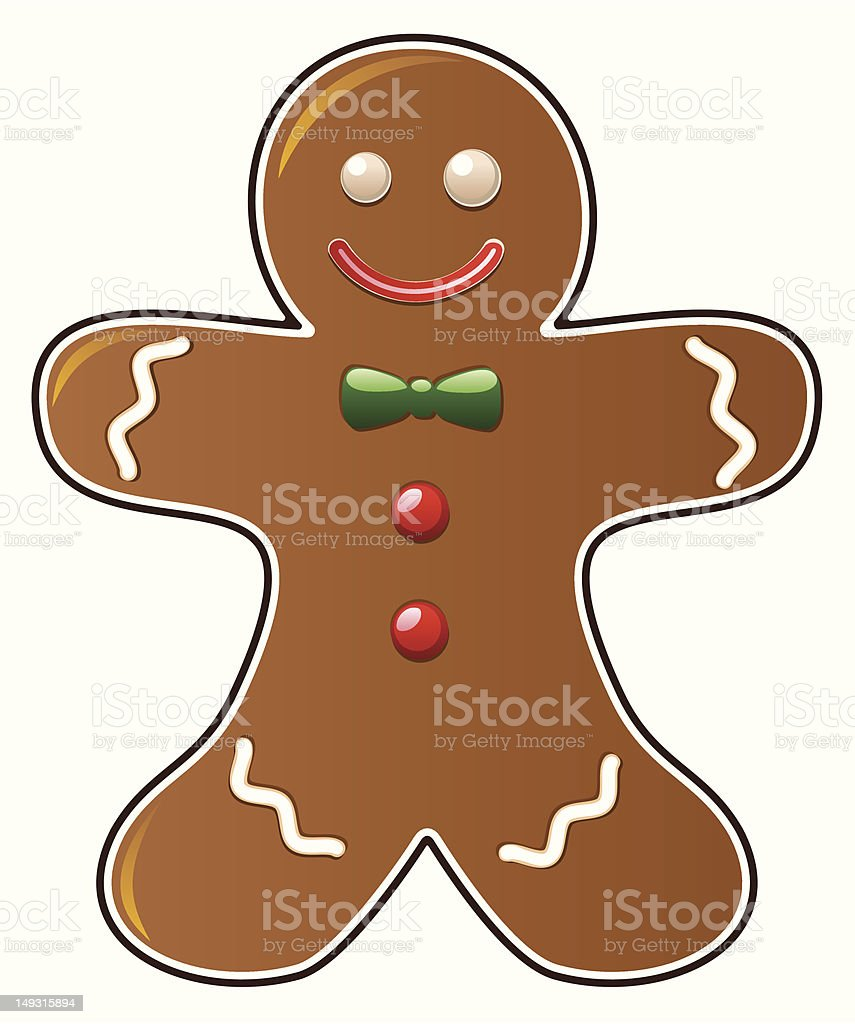 Gingerbread man painting on white vector art illustration