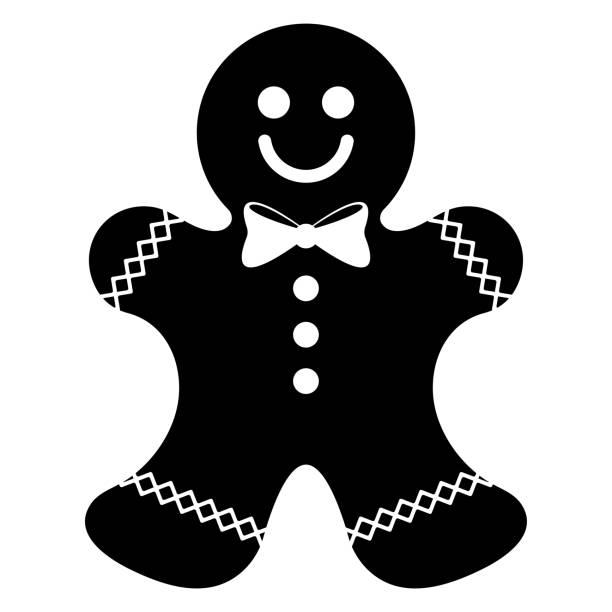 ilustraciones, imágenes clip art, dibujos animados e iconos de stock de silueta de hombre de jengibre - gingerbread man