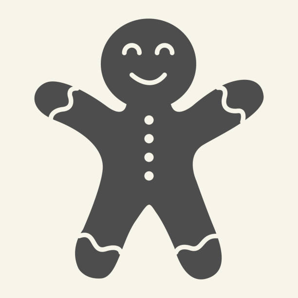 Gingerbread man solid icon. Biscuit Man glyph style pictogram on white background. Christmas Cookie for mobile concept and web design. Vector graphics. Gingerbread man solid icon. Biscuit Man glyph style pictogram on white background. Christmas Cookie for mobile concept and web design. Vector graphics decorating a cake stock illustrations