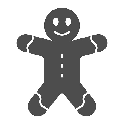 Gingerbread man solid icon, Christmas and New Year concept, holiday sweet sign on white background, ginger bread icon in glyph style for mobile concept and web design. Vector graphics.
