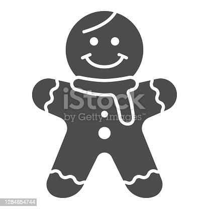 istock Gingerbread Man solid icon, New Year concept, Holiday cookie in shape of man sign on white background, Gingerbread biscuit icon in glyph style for mobile and web design. Vector graphics. 1284654744