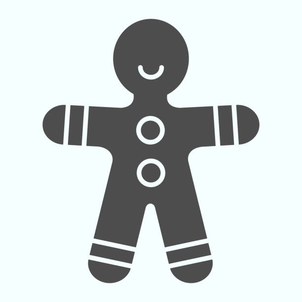 Gingerbread man solid icon. Shortcake cookie in shape of man. Christmas vector design concept, glyph style pictogram on white background, use for web and app. Eps 10. Gingerbread man solid icon. Shortcake cookie in shape of man. Christmas vector design concept, glyph style pictogram on white background, use for web and app. Eps 10 decorating a cake stock illustrations