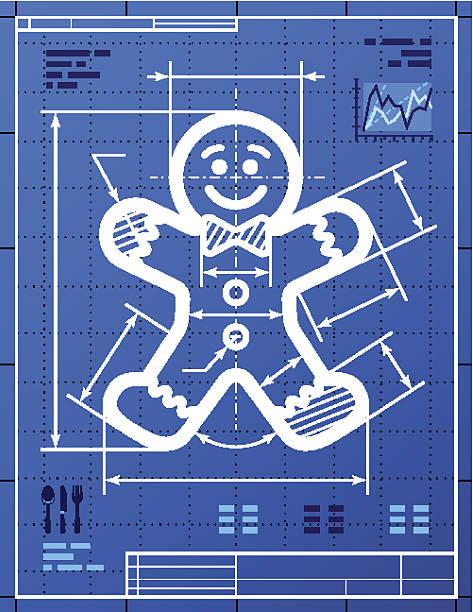 lebkuchen mann symbol wie blaupause zeichnung - keks grafiken stock-grafiken, -clipart, -cartoons und -symbole