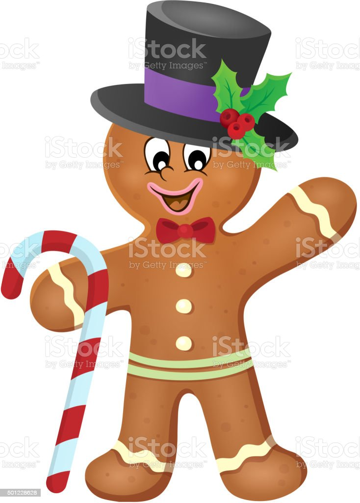 Gingerbread man theme image 3 vector art illustration