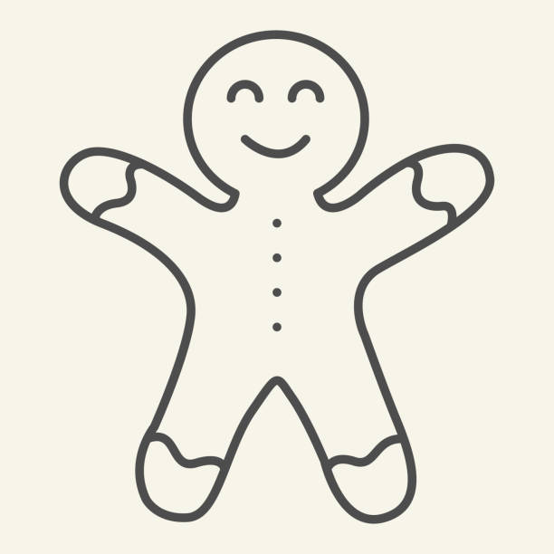 Gingerbread man thin line icon. Biscuit Man outline style pictogram on white background. Christmas Cookie for mobile concept and web design. Vector graphics. Gingerbread man thin line icon. Biscuit Man outline style pictogram on white background. Christmas Cookie for mobile concept and web design. Vector graphics decorating a cake stock illustrations