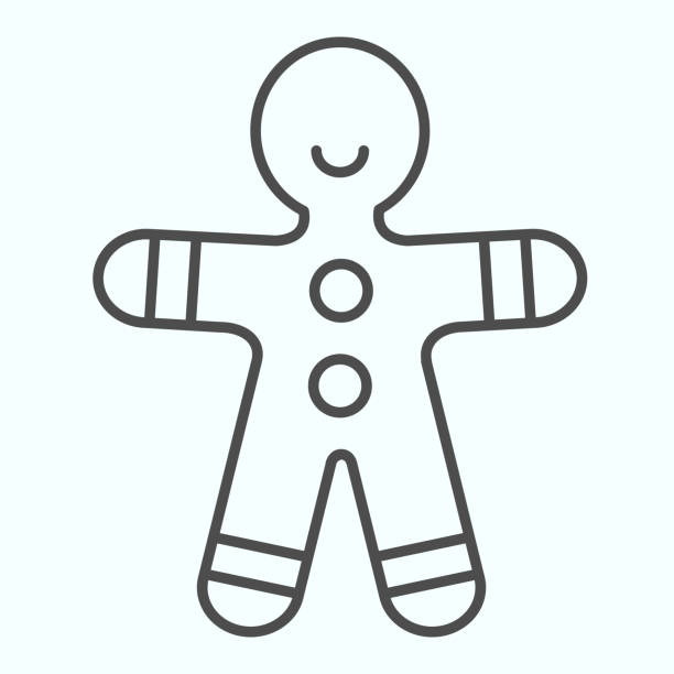Gingerbread man thin line icon. Shortcake cookie in shape of man. Christmas vector design concept, outline style pictogram on white background, use for web and app. Eps 10. Gingerbread man thin line icon. Shortcake cookie in shape of man. Christmas vector design concept, outline style pictogram on white background, use for web and app. Eps 10 decorating a cake stock illustrations