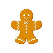 istock Gingerbread man traditional Christmas cookie with icing vector illustration 1281064546