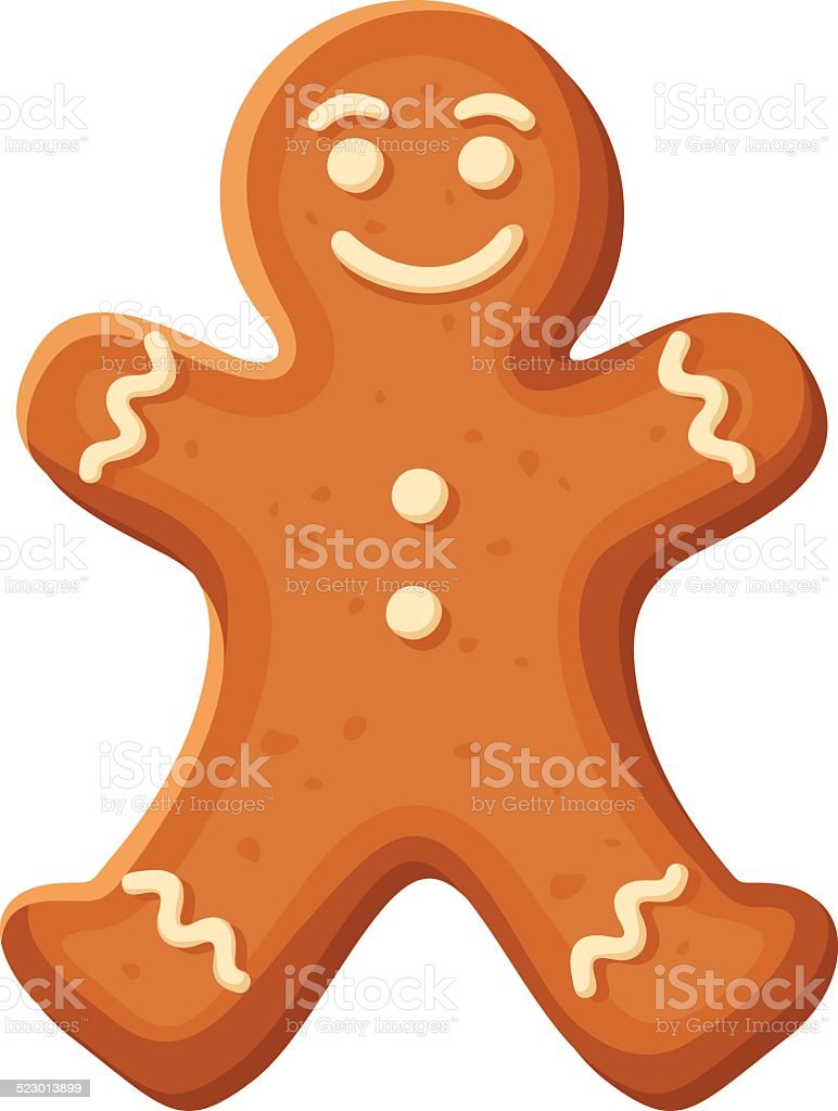 Gingerbread man. Vector Christmas cookie. Vector Christmas illustration of gingerbread man cookie isolated on white. Adult stock vector