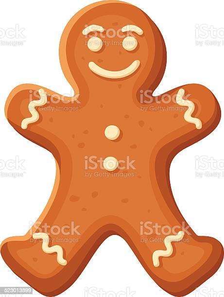Gingerbread Man Vector Christmas Cookie Stock Illustration - Download Image Now