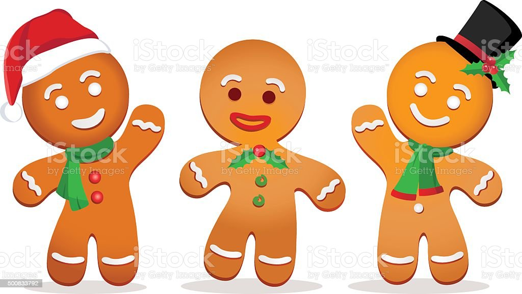 Gingerbread man Vector illustration of cute little Gingerbread man. Anthropomorphic Smiley Face stock vector