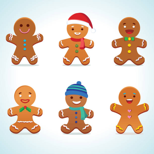 stockillustraties, clipart, cartoons en iconen met gingerbread man vector - speculaas