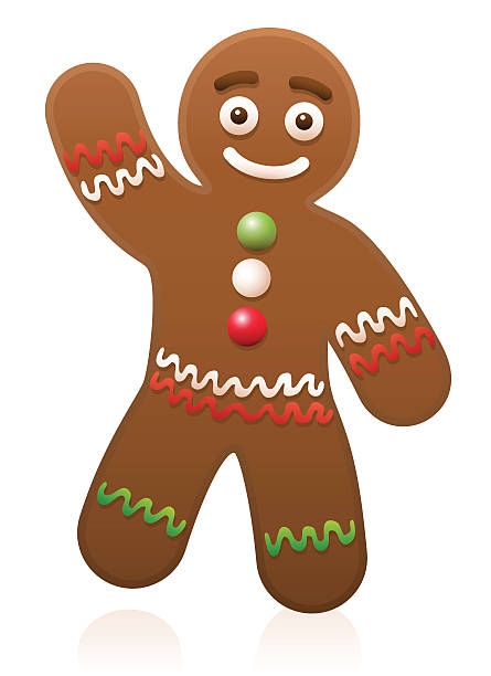 Gingerbread Man Waving Gingerbread man waving - cute and sweet christmas cookie. gingerbread man stock illustrations