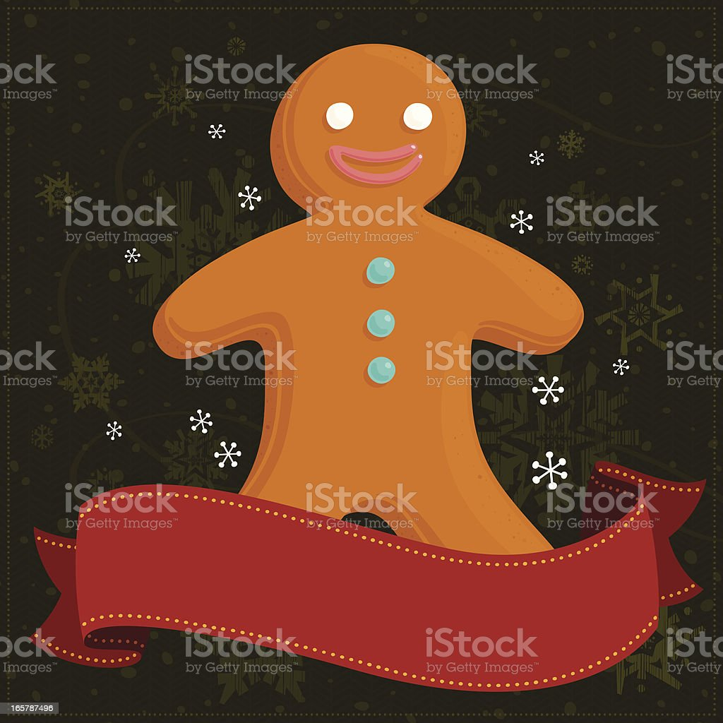 Gingerbread man with banner royalty-free stock vector art