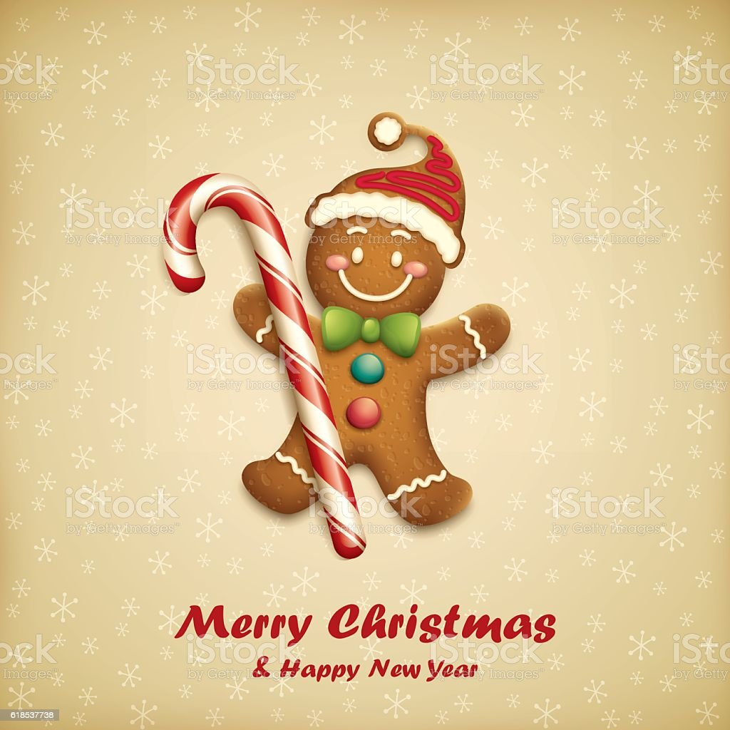 Gingerbread Man with Christmas Candy cartoon illustration of gingerbread man with candy Baked stock vector