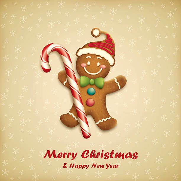 stockillustraties, clipart, cartoons en iconen met gingerbread man with christmas candy - speculaas