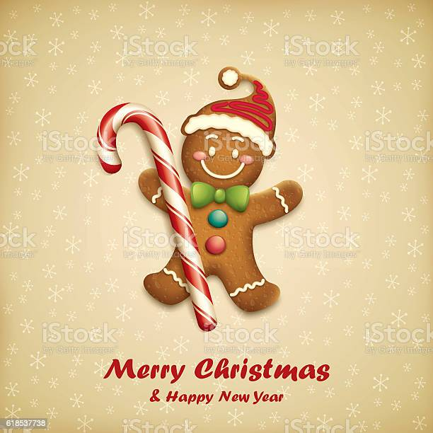 Gingerbread Man With Christmas Candy Stock Illustration - Download Image Now